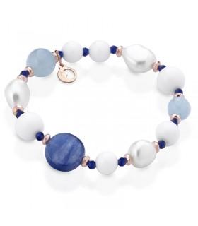 Boccadamo Women's Necklace with Pendant Rosette and Blue Swarovski