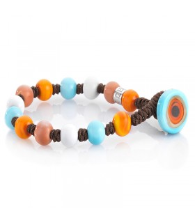 ZANCAN STEEL BRACELET WITH SHAPPIRES AND SPINELLI