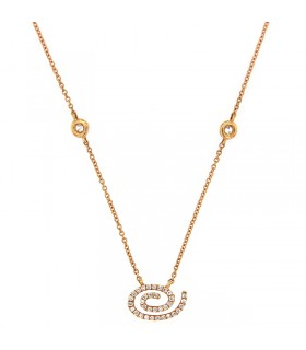 MILUNA GOLD NECKLACE WITH HEART AND DIAMONDS - 0