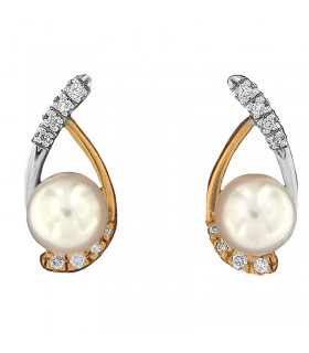 GIORGIO VISCONTI TRILOGY GOLD DIAMONDS EARRINGS